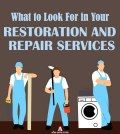 Clippart images of handymen performing restoration and repair services