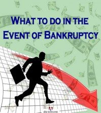 Silhouette of business man running and business graph going down with the text what to do in the event of bankruptcy