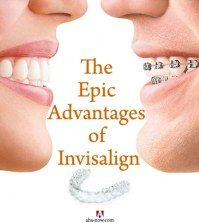 A comparison photo of a person with metallic braces and another with Invisalign to show the advantages of Invisalign