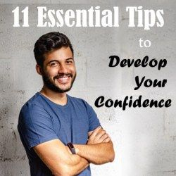 A smiling man standing with folded arms over the chest motivating to develop your confidence