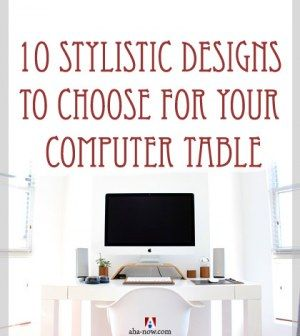A stylish white computer table design with a Mac and speakers on it