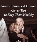 Senior parents dancing at home to keep healthy