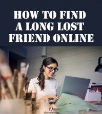 Girl trying to find a lost friend online on laptop