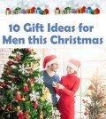 Woman giving gift to man on Christmas