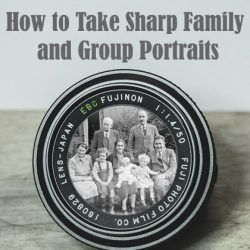 Family group photo inside a camera lens