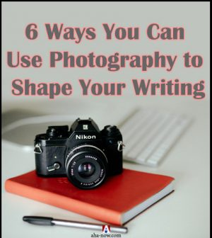 A camera, notebook and pen to depict photography can improve writing