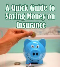 A hand putting coin into a blue piggy bank from money saved in insurance