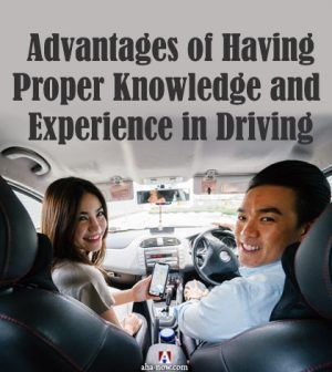 Man learning to be a good driver from instructor woman in a car