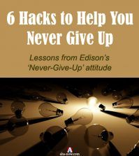 One lighted bulbs among many fused bulbs symbolizing Edison's never give up attitude