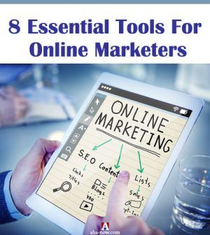 Online marketer with tablet in hand searching for online marketing tools