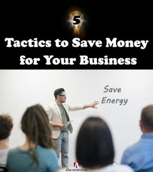 Manager giving presentation to employees teaching tactics to save money in business