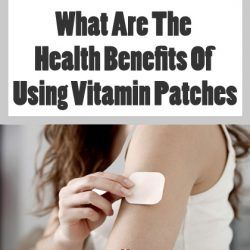 Woman applying vitamin patch on arm for health benefits
