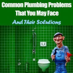Caricature of a plumber in bathroom sorting out plumbing problems