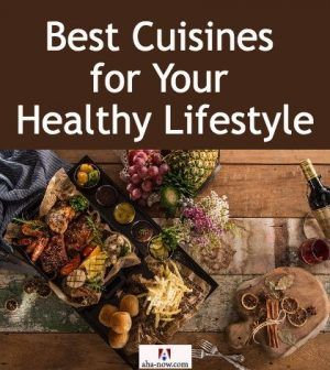 A cuisine consisting of veggies, fruits, and seafood for healthy lifestyle