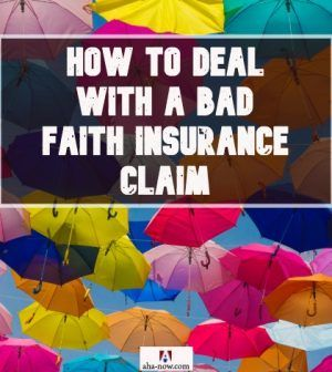 Plenty of colorful umbrellas dropping from the sky with superimposed caption how to deal with a bad faith insurance claim