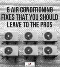 Air conditioners on a wall that need fixes