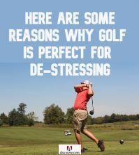 A man playing golf to de-stress himself