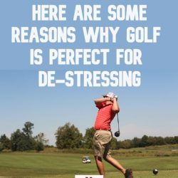 A man playing golf to de-stress himself